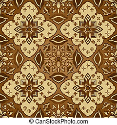 patrón, seamless, batik, marrón