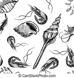 patrón, seamless, camarones, fondo., vector, seashells., ...