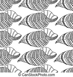 patrón, seamless, conchas marinas