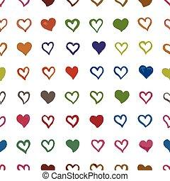 patrón, seamless, corazones