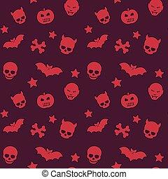 patrón, seamless, cráneos, halloween, murciélagos