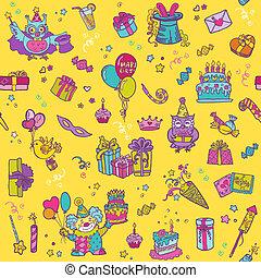 patrón,  -,  seamless, cumpleaños,  vector, diseño, álbum de recortes, celebración