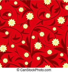 patrón, seamless, diseño, floral, flores, rojo