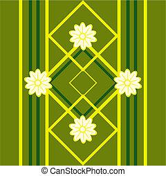 patrón, seamless, diseño, floral, verde, flores