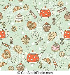 patrón, seamless, dulces