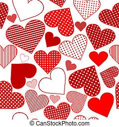 patrón, seamless, estilizado, plano de fondo, corazones,...