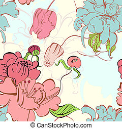 patrón, seamless, floral