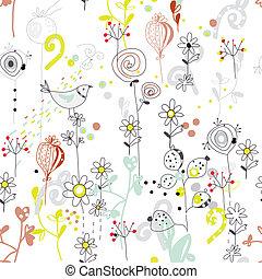 patrón, seamless, floral, pájaro, bosquejo, diseño