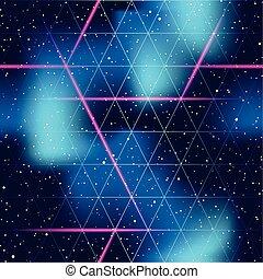 patrón, seamless, futurista, espacio