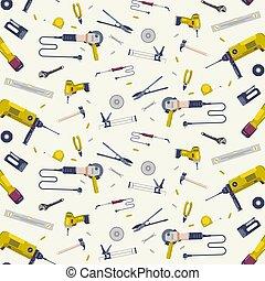 patrón, seamless, herramientas, reparación