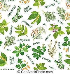 patrón, seamless, hierbas, plano de fondo, blanco, especias