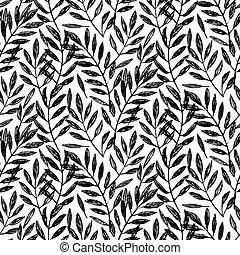 patrón, seamless, hojas, tropical, palma, follaje