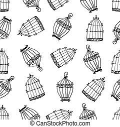 patrón, seamless, jaulas de pájaros