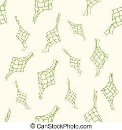 patrón, seamless, ketupat