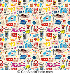 patrón, seamless, lindo, música, icono