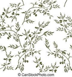 patrón, seamless, mano, diseño, rama, aceituna, dibujado
