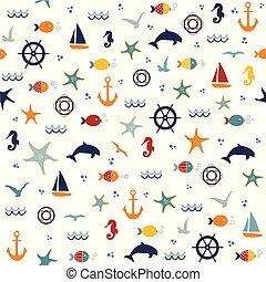 patrón, seamless, mano, starfishes, dibujado, conchas marinas