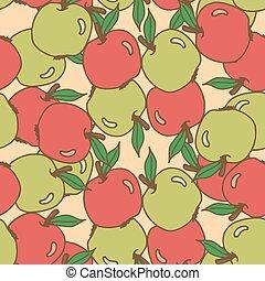 patrón, seamless, manzanas