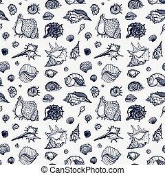 patrón, seamless, mar, shells.