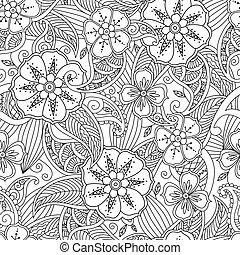 patrón, seamless, mendie, leafs, garabato, flores, style.