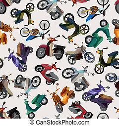 patrón, seamless, motocicleta
