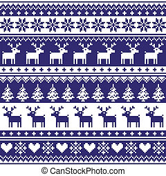 patrón, seamless, nórdico, invierno