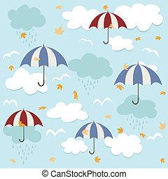 patrón, seamless, paraguas