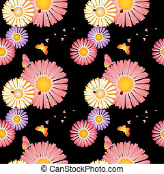 patrón, seamless, primavera, mariposas, mariquitas, flores