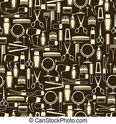 patrón, seamless, retro, herramientas, style., peluquería
