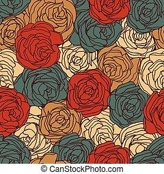 patrón, seamless, rosas