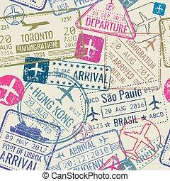 patrón, seamless, sellos, vector, pasaporte, visa