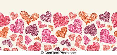 patrón, seamless, textured, corazones, horizontal, frontera,...
