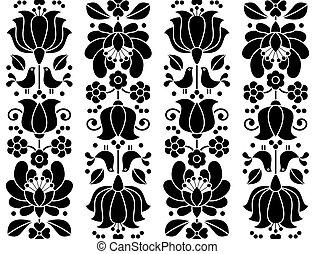 patrón, -, seamless, tradicional, diseño, bordado, floral, hungría, kalocsai, gente