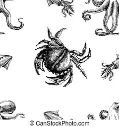 patrón, seamless, vector, cangrejo, octopus., wallpapers., ...