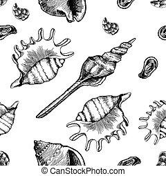 patrón, seamless, vector, seashells., wallpapers., marina