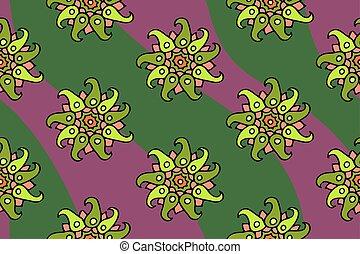 patrón, seamless, verde, floral, flores, agradable