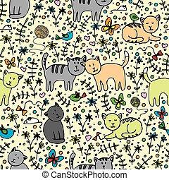 patrón, seamlessly, gatos