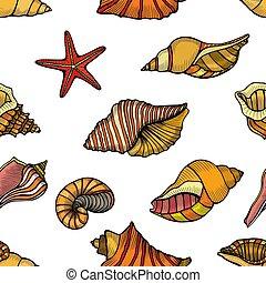 patrón, seashells., seamless