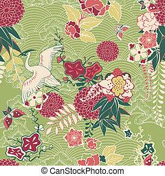 patrón, seda, oriental