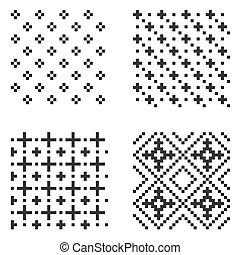 patrón, set., vector, pixel, seamless