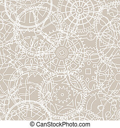 patrón, siluetas, vector, seamless, engranajes