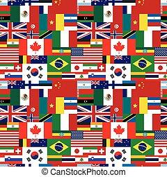 patrón, soberano, seamless, estados, banderas, mundo