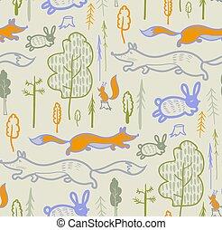 patrón, superficie, niños, ropa de calle, animales, bosque, diseño