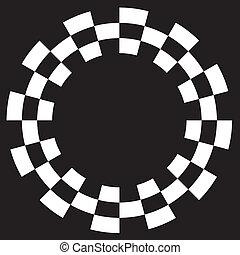 patrón, tablero de damas, espiral, marco