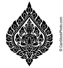 patrón, tailandés, vector, ángel, artes