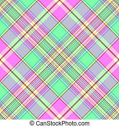 patrón, tartán, diagonal, seamless, green-pink