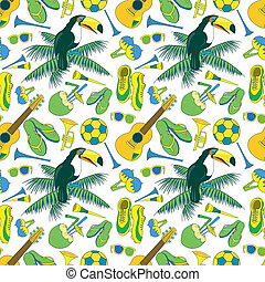 patrón, tema, seamless, brasileño