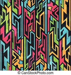 patrón, tribal, grafiti, coloreado, seamless