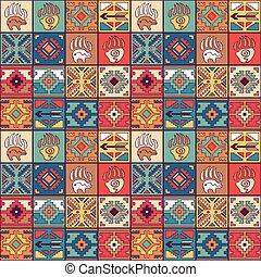 patrón, tribal, navajo, seamless, colorido