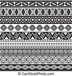 patrón, tribal, -, seamless, azteca, fondo negro, blanco